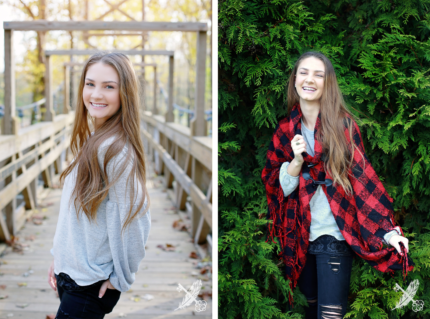 Girl senior pictures in Huntington forks of the wabash with feather and key photo.