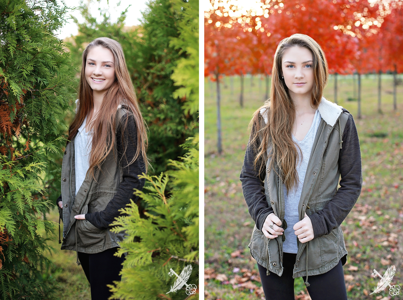 Fall senior pictures in evergreen trees and red leaves in Huntington indiana with feather and key photography.