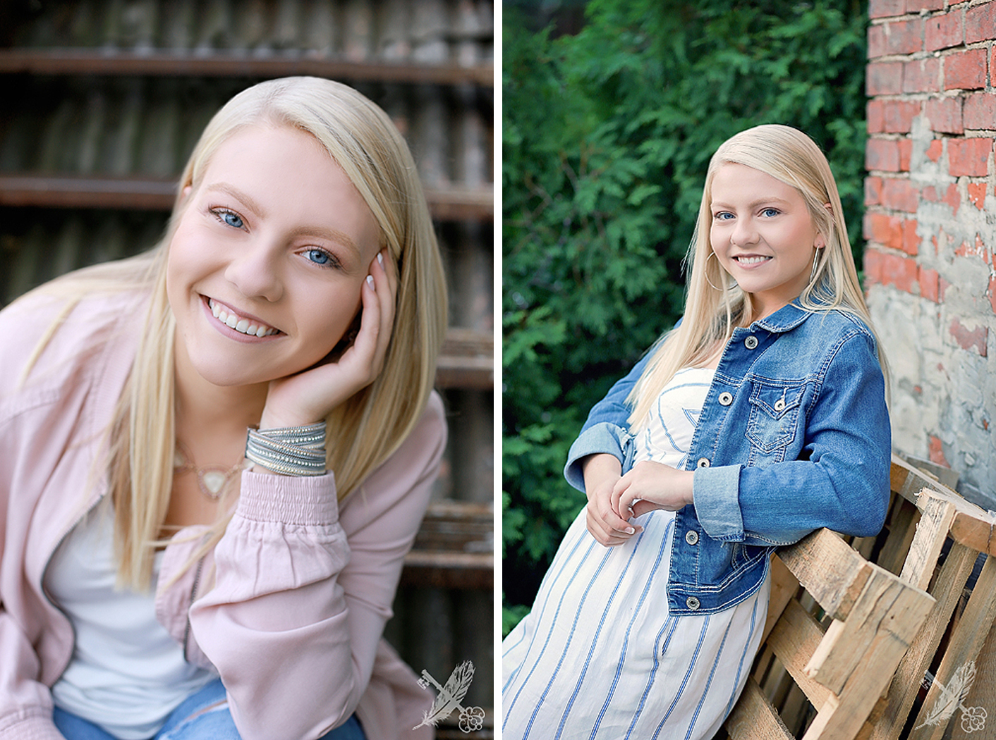 Two images side by side of HNHS senior girl in urban downtown Huntington locations with feather and key photography watermark in corner.