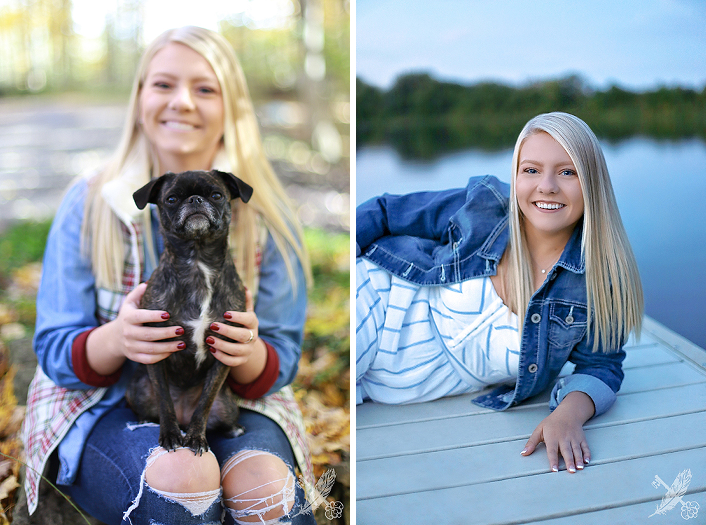 High school senior girl smiles  with small dog sitting in her lap in woods location ft wayne, with feather and key photography watermark in corner.