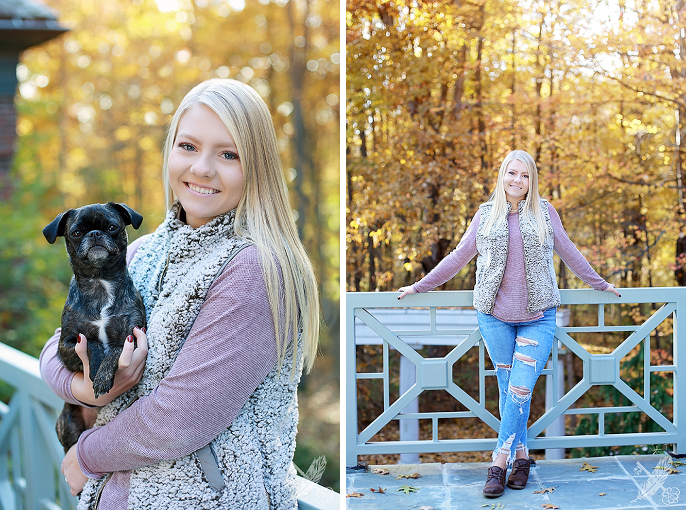 Portraits of HNHS senior with her puppy in a fall location, with leaves, for her senior pictures with feather and key photography.