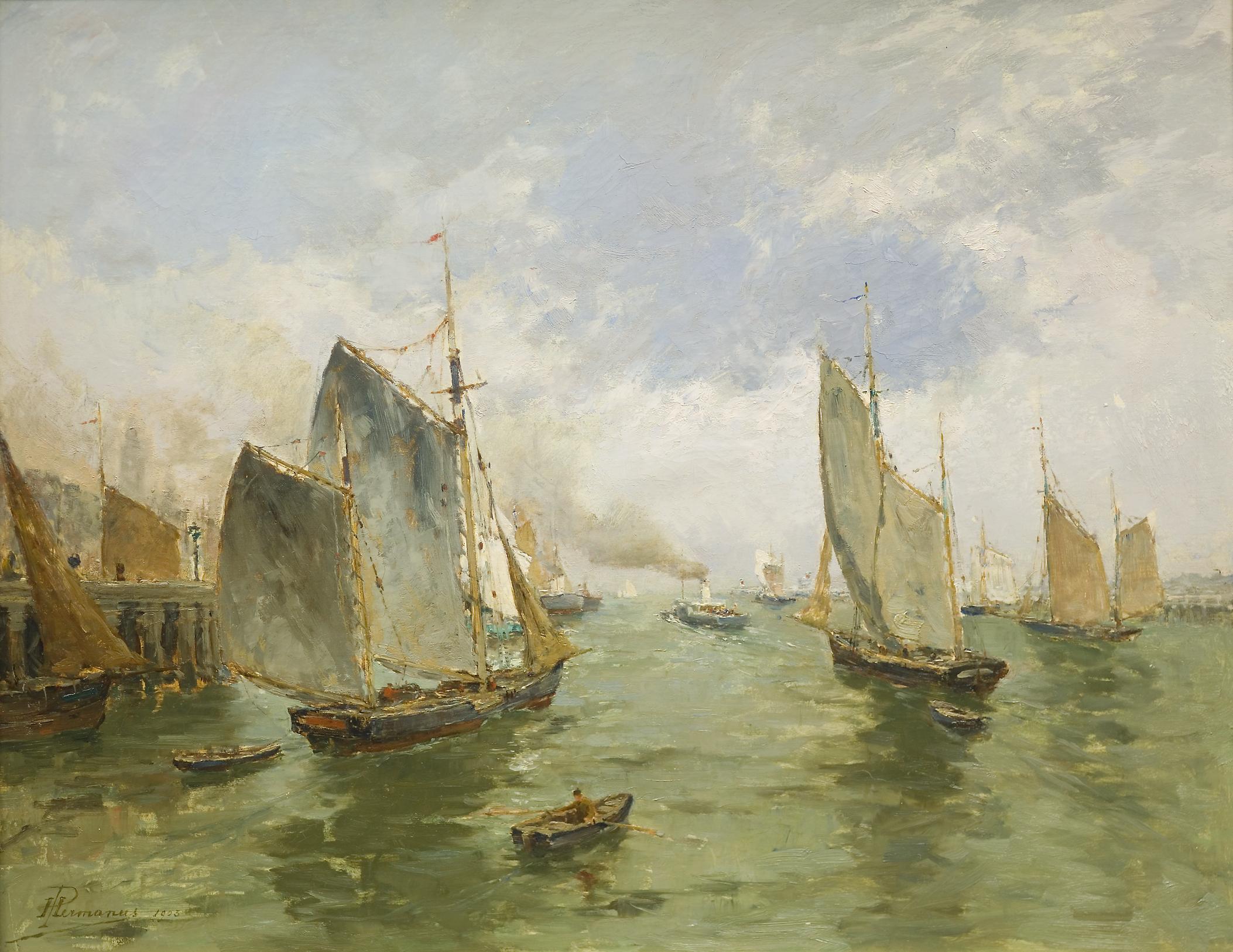 Depart de Bateaux de Peche, Ostende, Paul Hermanus, 1903, oil on canvas.