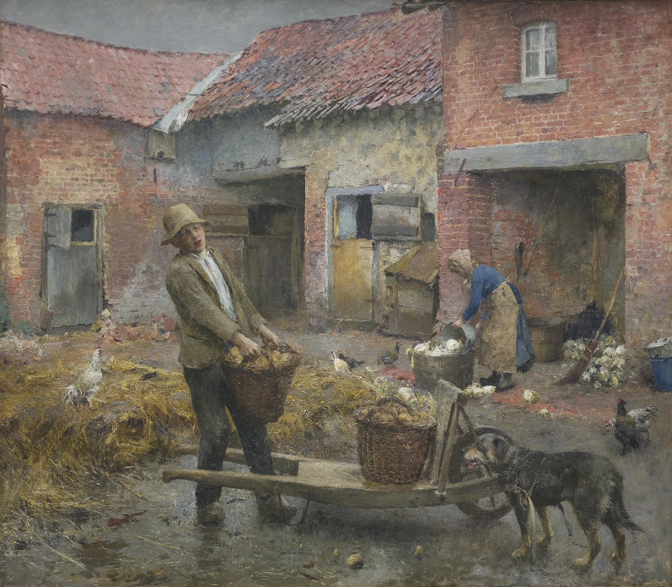 View of a Riverside Town, Johan Hendrik Van Mastenbroek, 1899, oil on canvas.