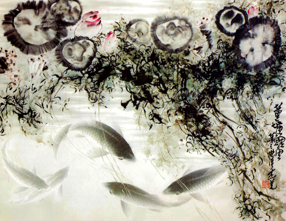 Carp in Lotus Pond, H.H. Dorje Chang Buddha III, 1998, ink on paper.
