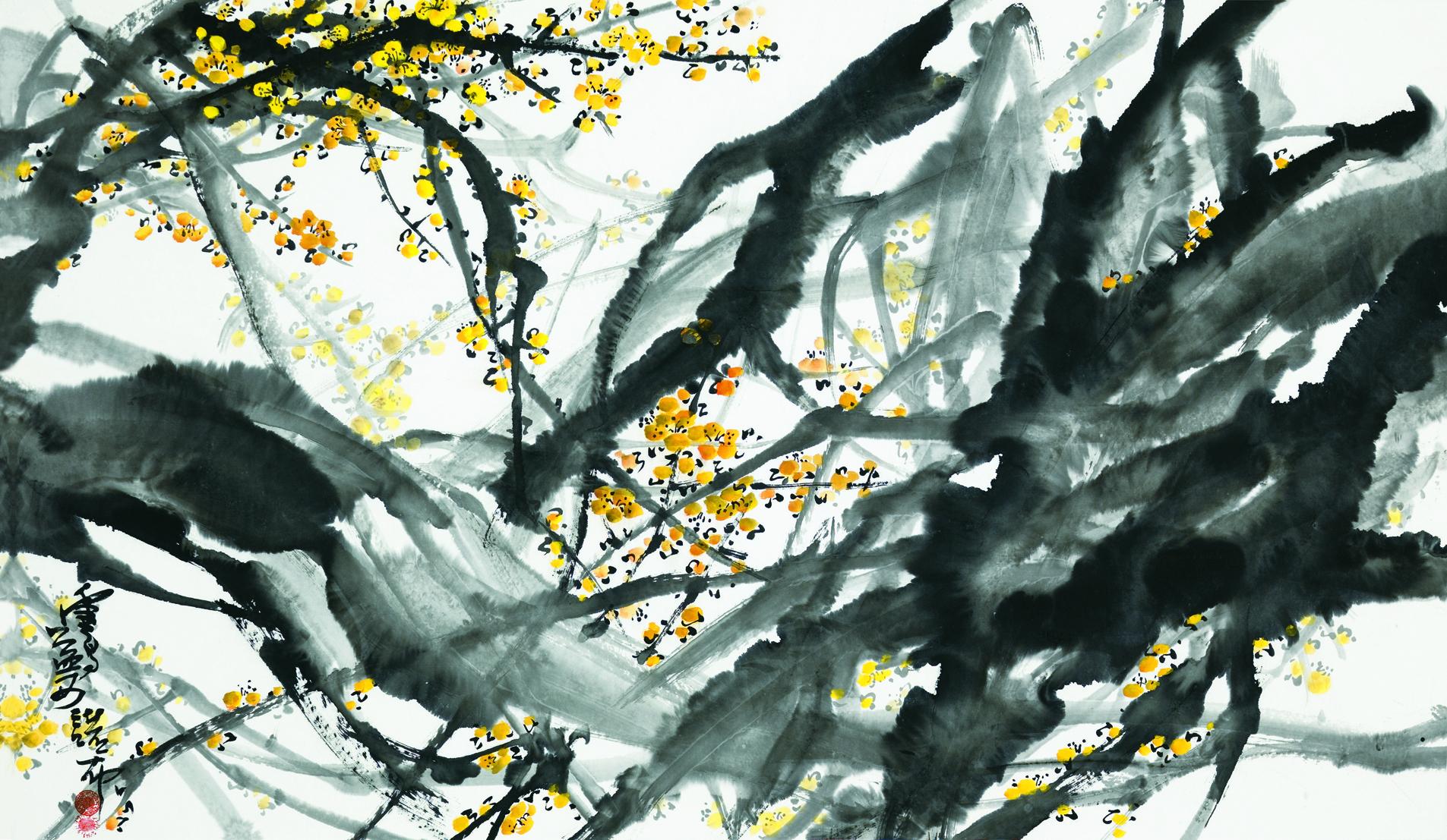 梅林一角Corner of a Plum Blossom Grove, H.H. Dorje Chang Buddha III, ink on paper.