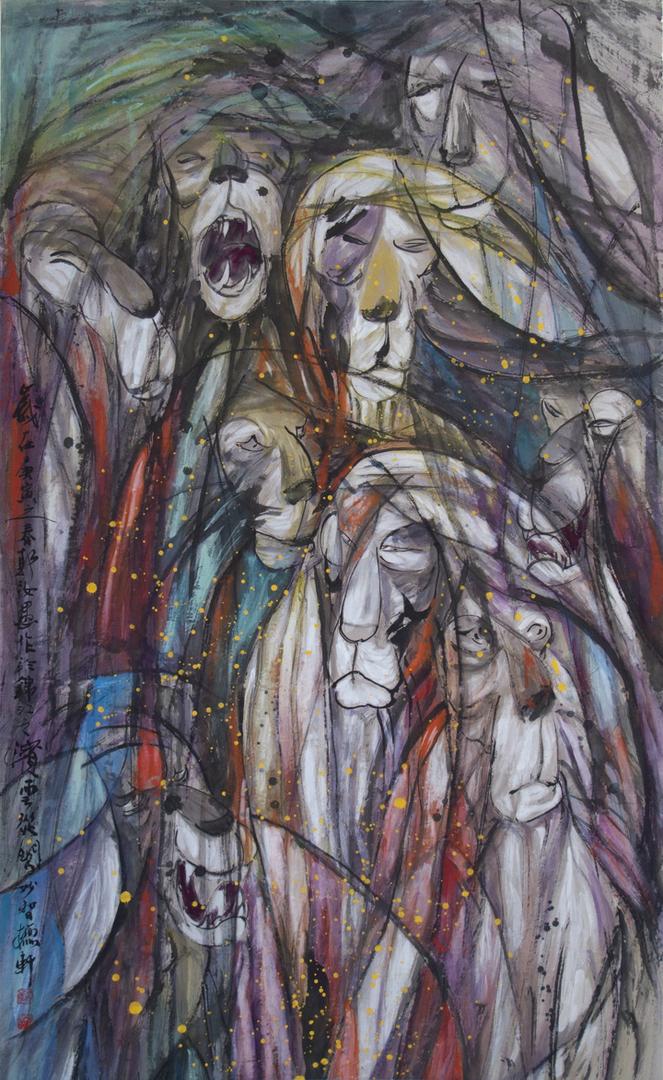 Lions, 郭汝愚 Guo Ruyu, 2010, ink on paper.