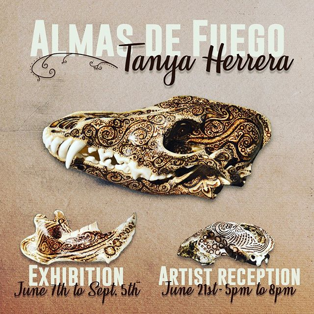 "Come join us at the museum for our new Lightspace exhibition ""Almas de Fuego"". A pyrography exhibit inspired by Costa Rican patterns on both animal and human bones by Tanya Herrera (@tanyaherrera.o.r.c)⠀⠀ Meet the artist at the reception on Friday, June 21st from 5:00 to 8:00pm. Snacks, drinks and amazing art included!⠀⠀ ⠀⠀ #sanfrancisco #sfevent #sfmuseum #artexhibition #artistreception #pyrography #costarica #art #costaricanart #almasdefuego⠀⠀ ⠀⠀"