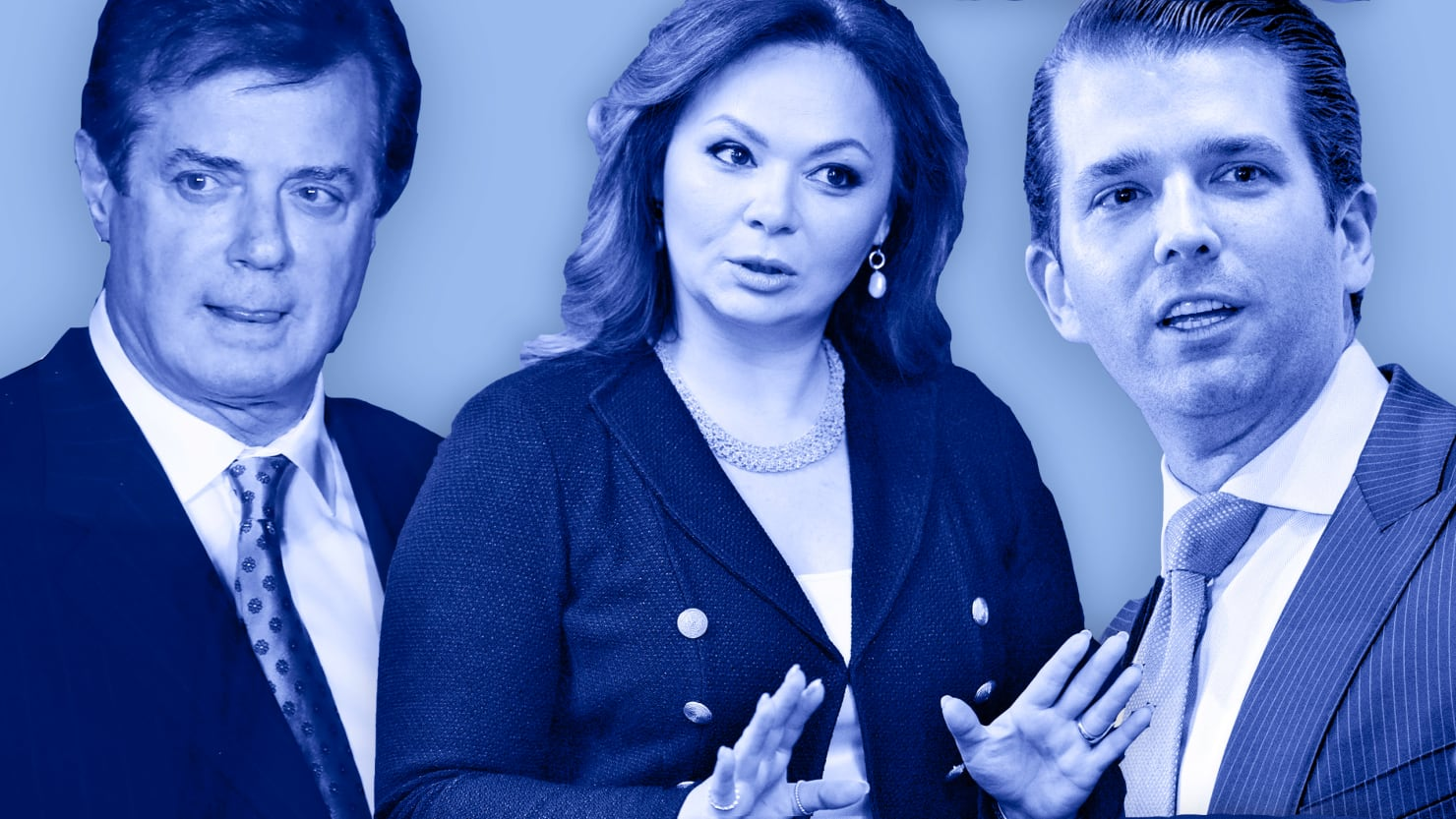 Manafort, Veselnitskaya and Trump Jr., Photo via  Daily Beast