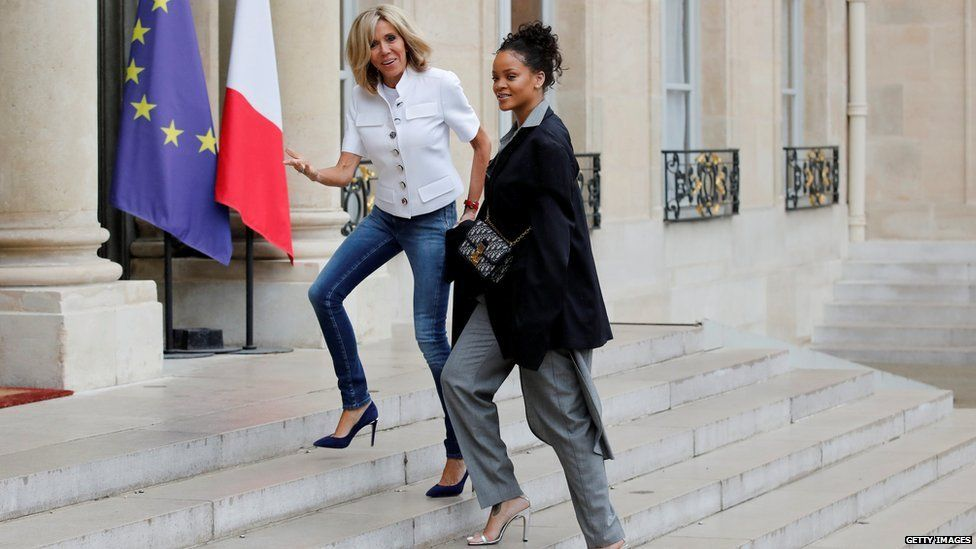 Rihanna and France's first lady, when Rihanna went to discuss expanding education