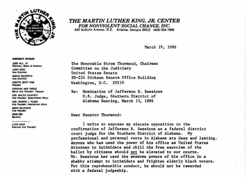 King's letter condemning Sessions, photo via  The Martin Luther King Jr. Center