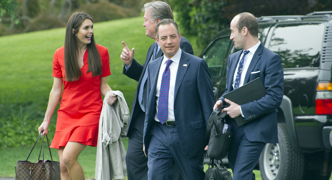 Hicks, pictured with Steve Bannon and Reince Priebus before boarding Air Force One, photo via  New York Times