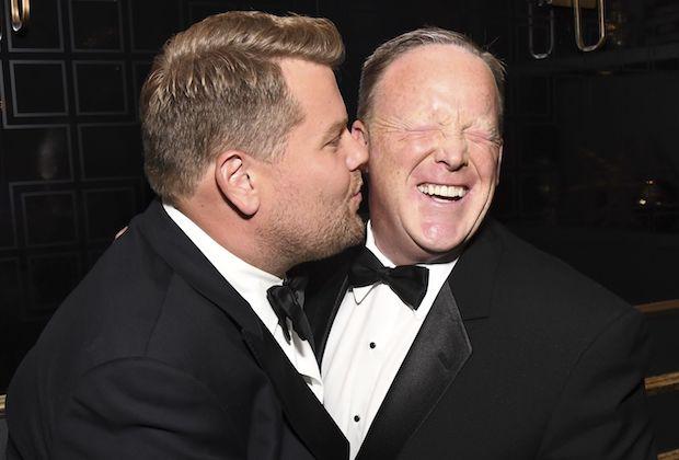 James Corden and Sean Spicer
