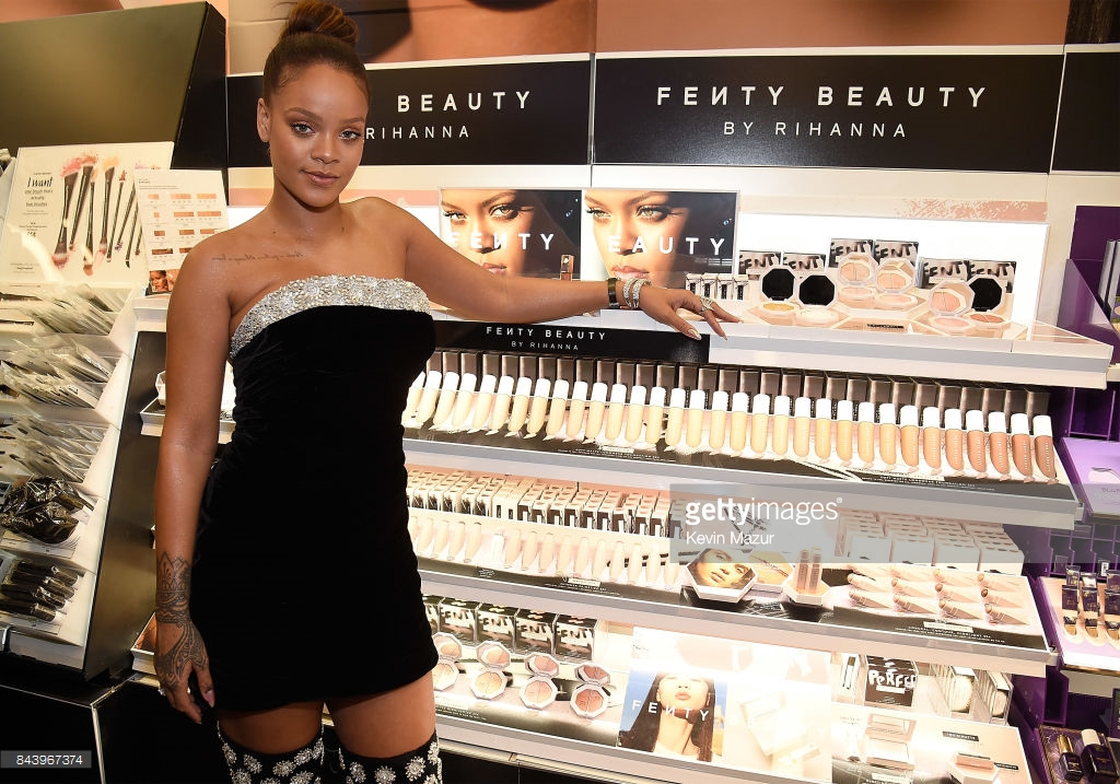 Rihanna and a Fenty Beauty collection at Sephora, photo via  Getty Images