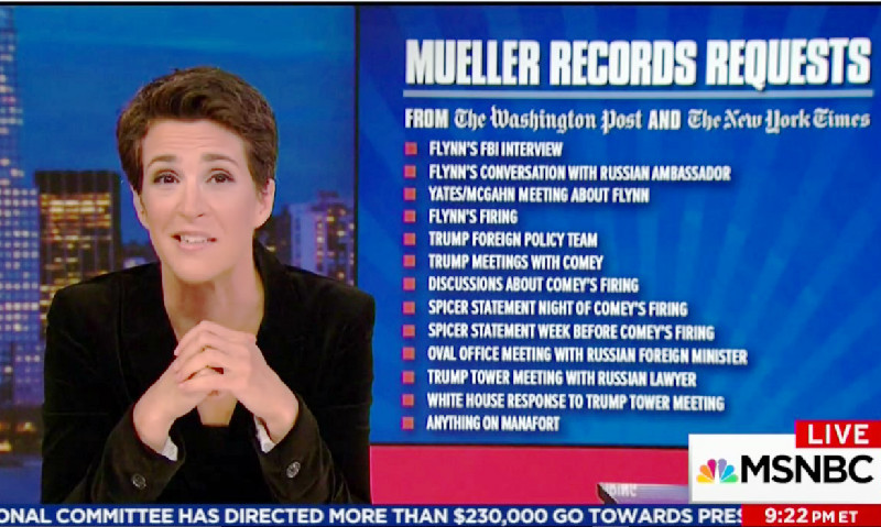 Rachel Maddow covering documents Mueller has requested, photo via  MSNBC