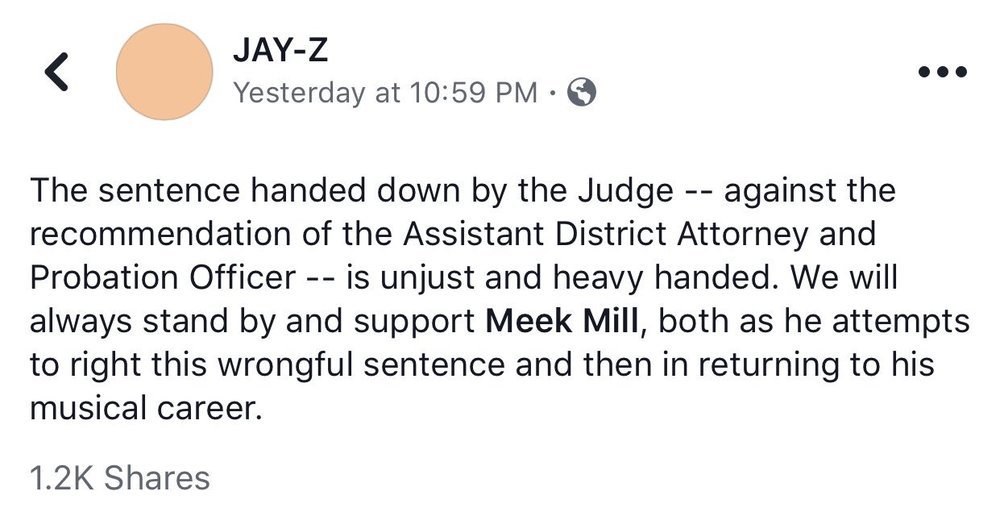 Jay-Z's statement, photo via  Facebook