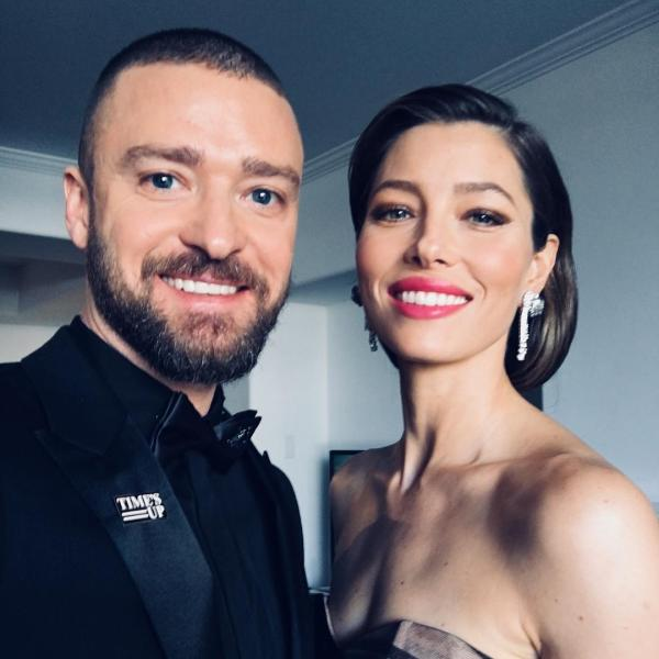 Justin Timberlake donning a TimesUP pin, photo via  Instagram
