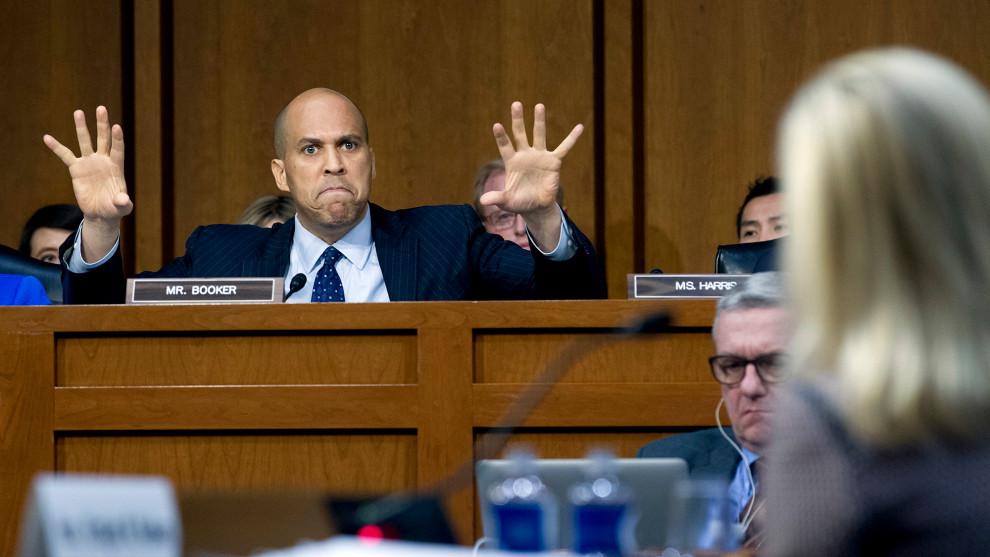 Booker on the Senate floor Tuesday, photo via  AP