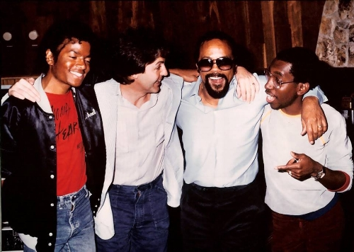 Quincy Jones pictured with Paul McCartney of the Beatles and Michael Jackson, photo via  unknown