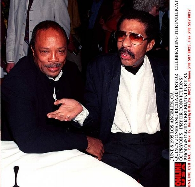 Quincy Jones pictured with Richard Pryor in 1995, photo via  Getty Images