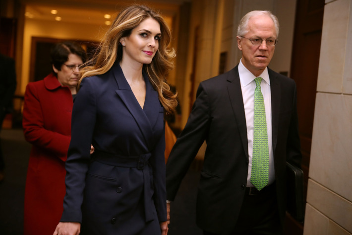 Hope Hicks before her testimony to the House Intelligence Committee, photo via  New York Times