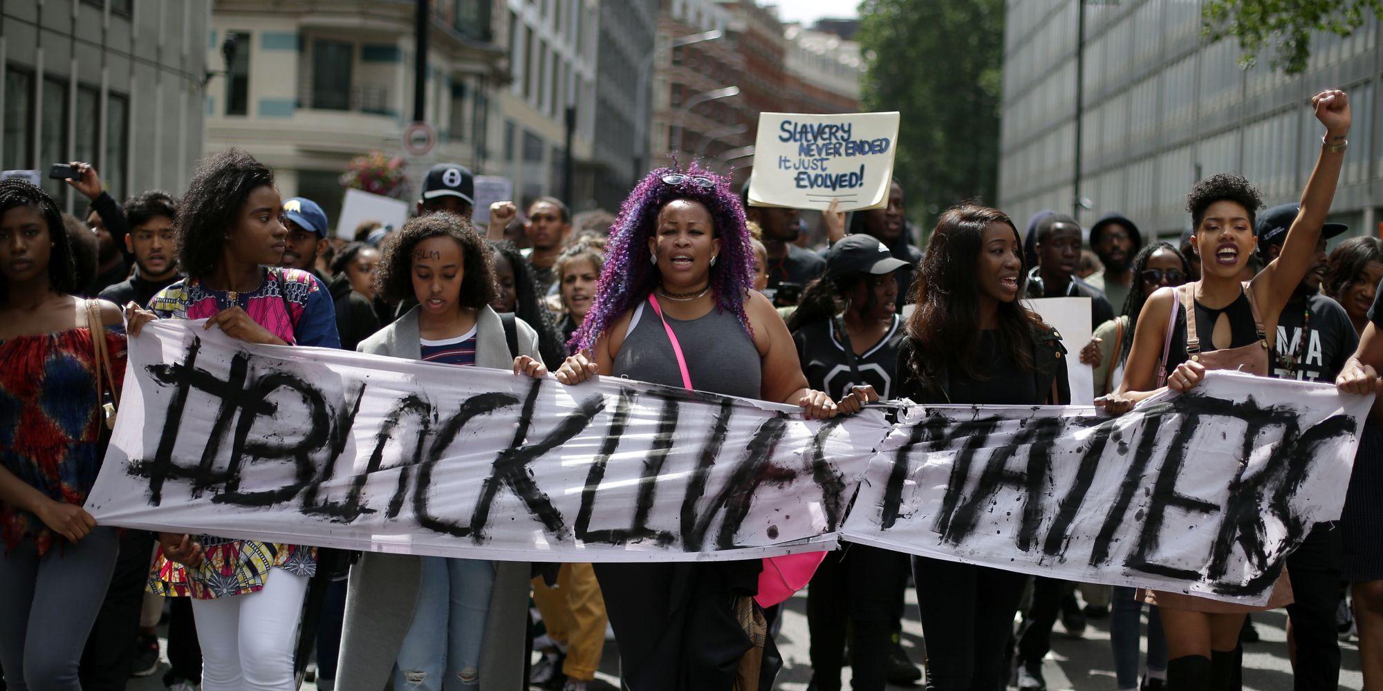 Black Lives Matter protestors. Photo via  The Houston Defender.