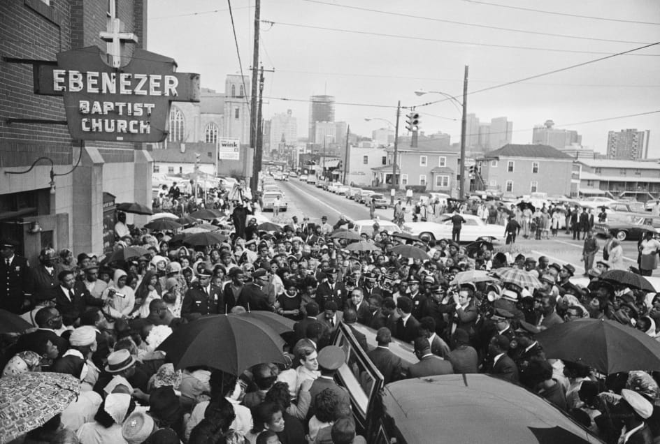 the rainy day of King's funeral at Ebenezer Baptist Church, photo via  Getty Images