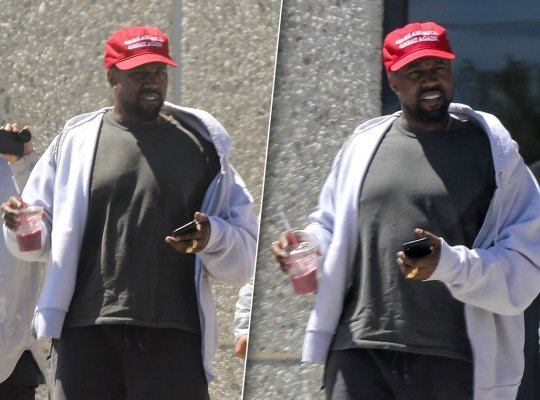 Kanye stepping out in his MAGA hat, photo via  Radar Online