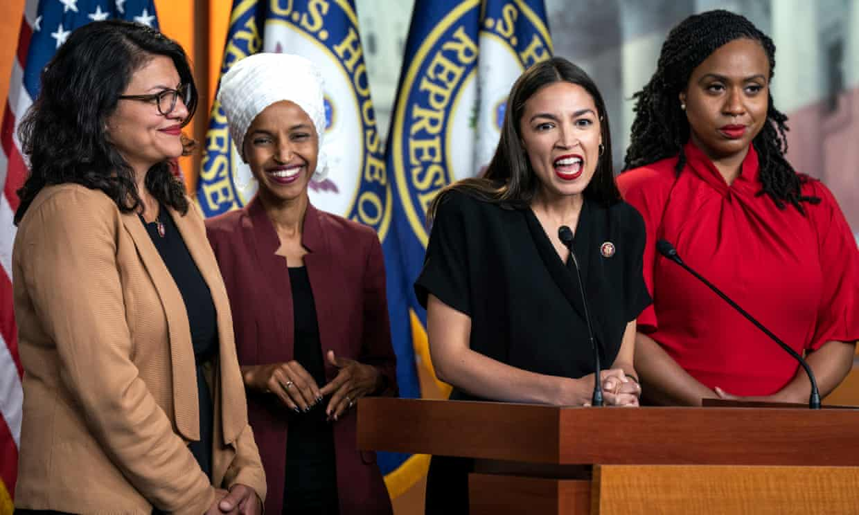 The Squad: (left to right): Rep. Rashida Tlaib (MI), Rep. Ilhan Omar (MN), (Rep. Alexandria Ocasio-Cortez (NY), Rep. Ayanna Pressley (MA). Photo:  The Guardian
