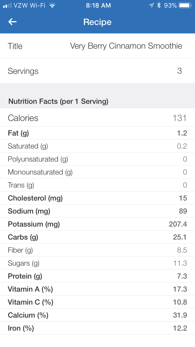 Nutritional information via MyFitnessPal