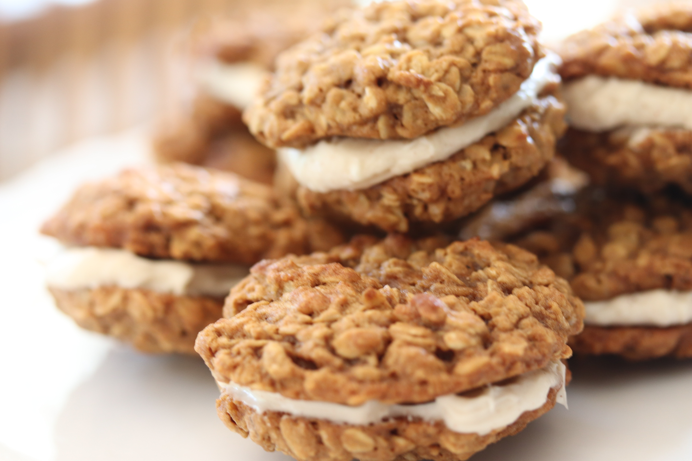 oatmeal cookies with spiced cream cheese frosting