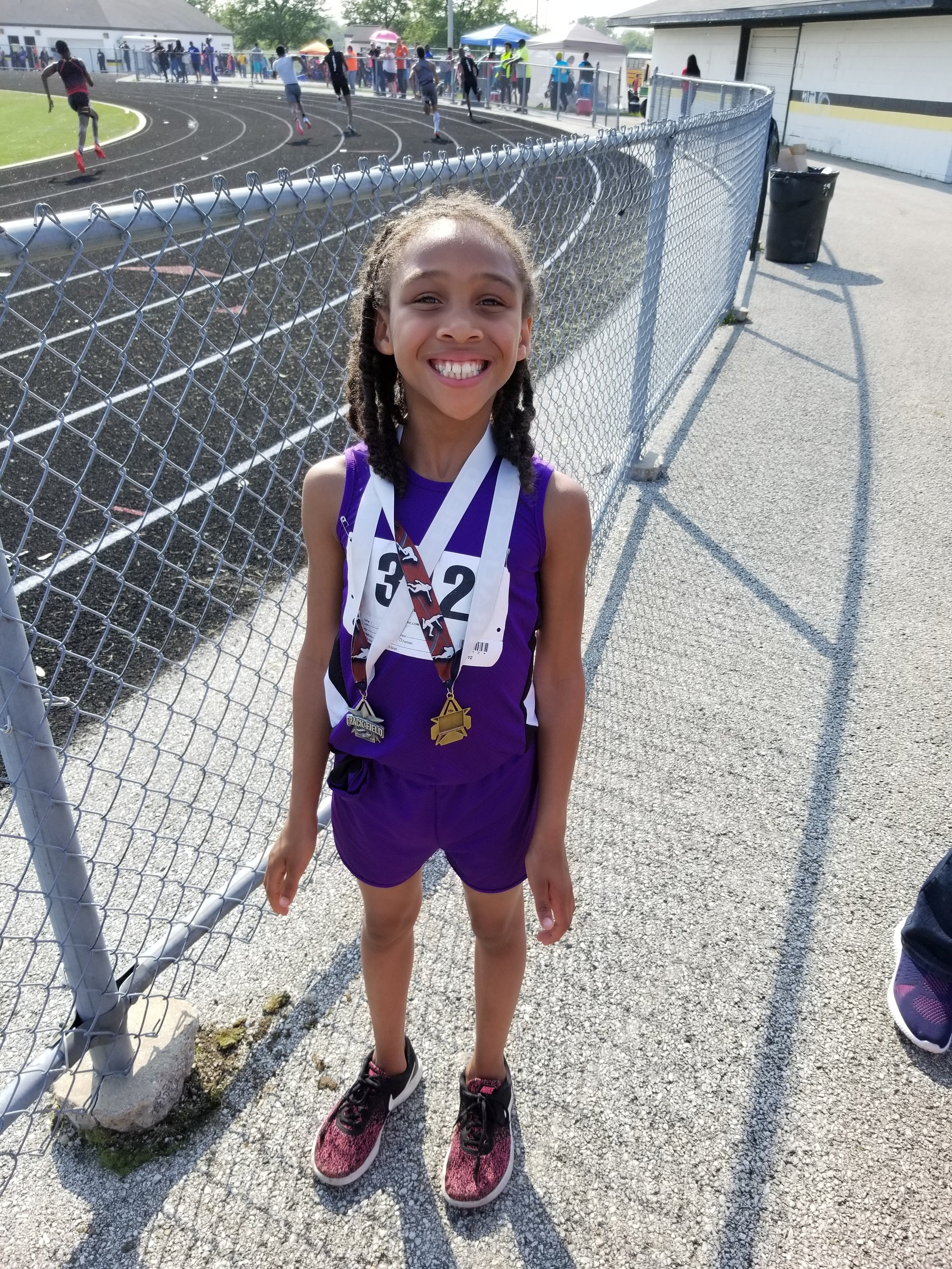Alaina Steele 8 And Under 200m Champion and 100m Runner-up First career track & Field meet.