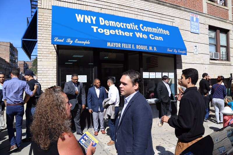 Jonathan Castaneda and Adam Parkinson engaging with the people of West New York. Photo Credit: Alexis Feijoo.