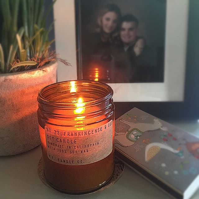 Working in the office on my day off and enjoying this amazing scented candle by P.F. Candle Company. I love the packaging and how the candle burns evenly, not a bit wasted. We have a variety of scents in store waiting for a new home. #sheaalexandersalonandboutique #pfcandleco #shoplocal