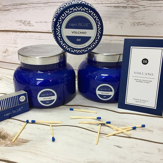 Your favorite candle is stocked in store!  We carry three scents, Volcano, Blue Jean and Aloha Orchid candles.  Perfect summer candles! #shoplocal #sheaalexandersalon #capriblue #volcanocandle #alohaorchidcandle #bluejeancandle #allthesmells #shopsmall
