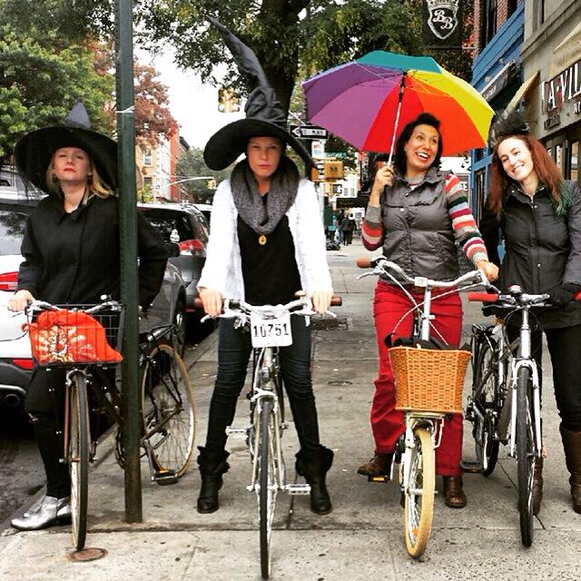 Cheriece bicycling with friends in Park Slope