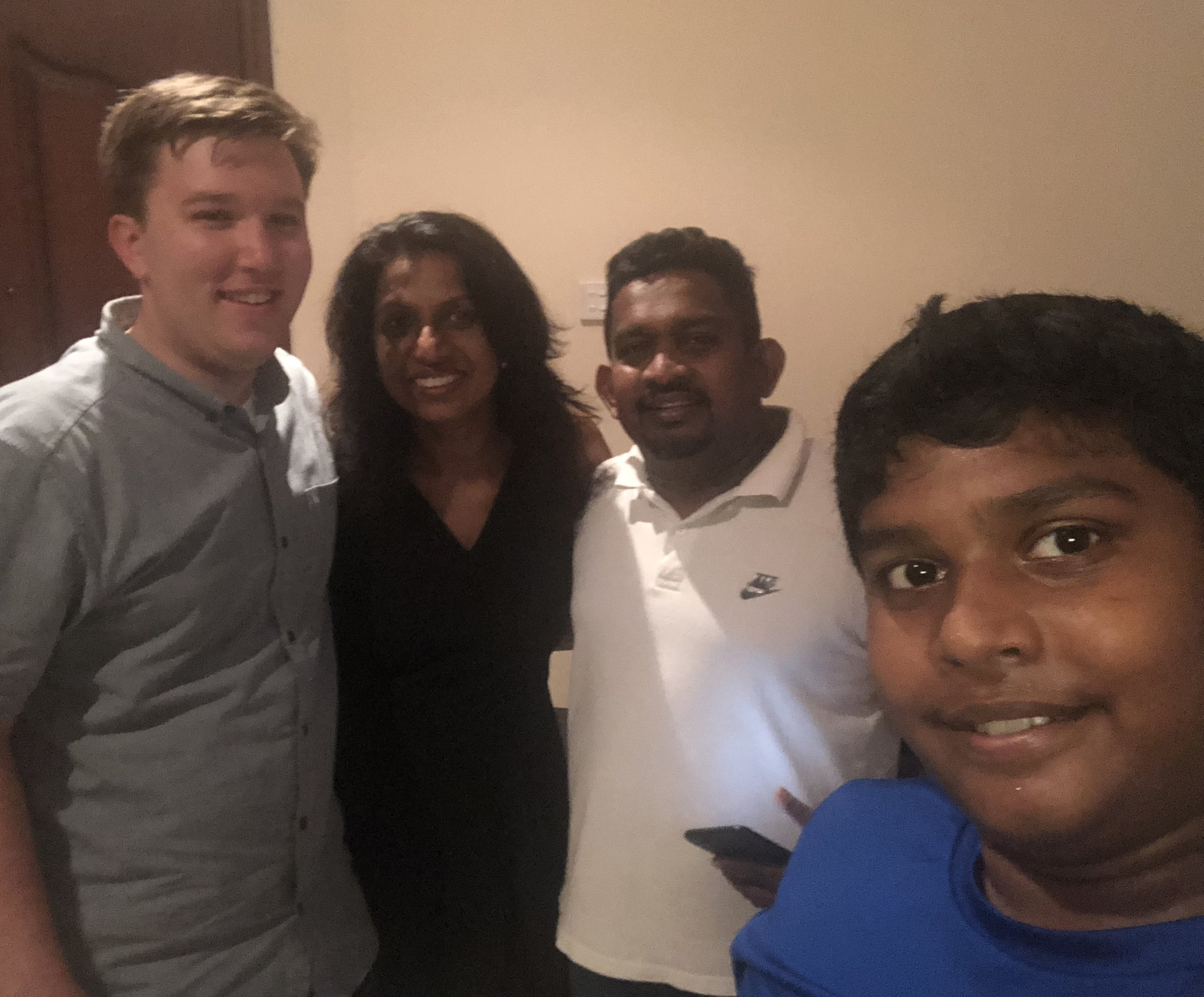 A quick selfie by Nilwala and Sanjeewa's son, taken after our walk on the beach. I feel pretty tall around most Sri Lankans.