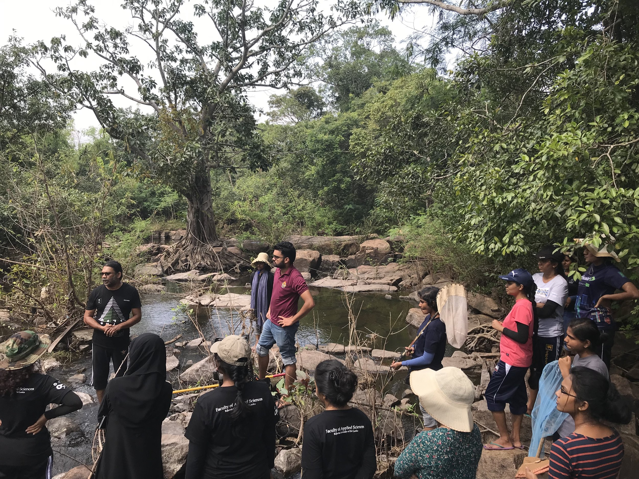 Undegraduate students from Rajarata University listening to the day's plan from their instructor, moments before they all enter this stream to begin sampling for various aquatic creatures.