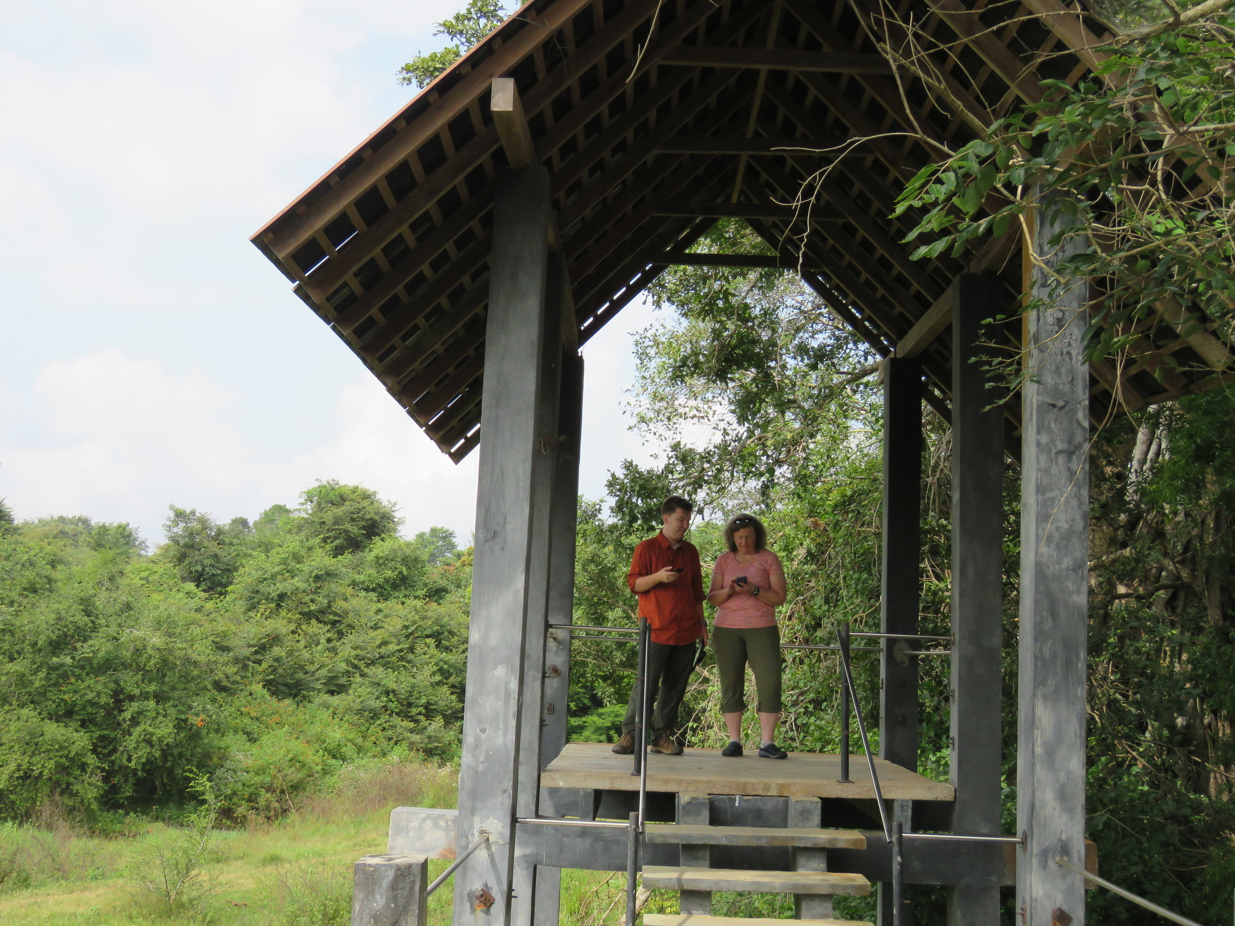 Elizabeth and me in the tower at Wasgamuwa, the best spot to get cellular signal to check emails from back home. Photo: Wendy Kiso.