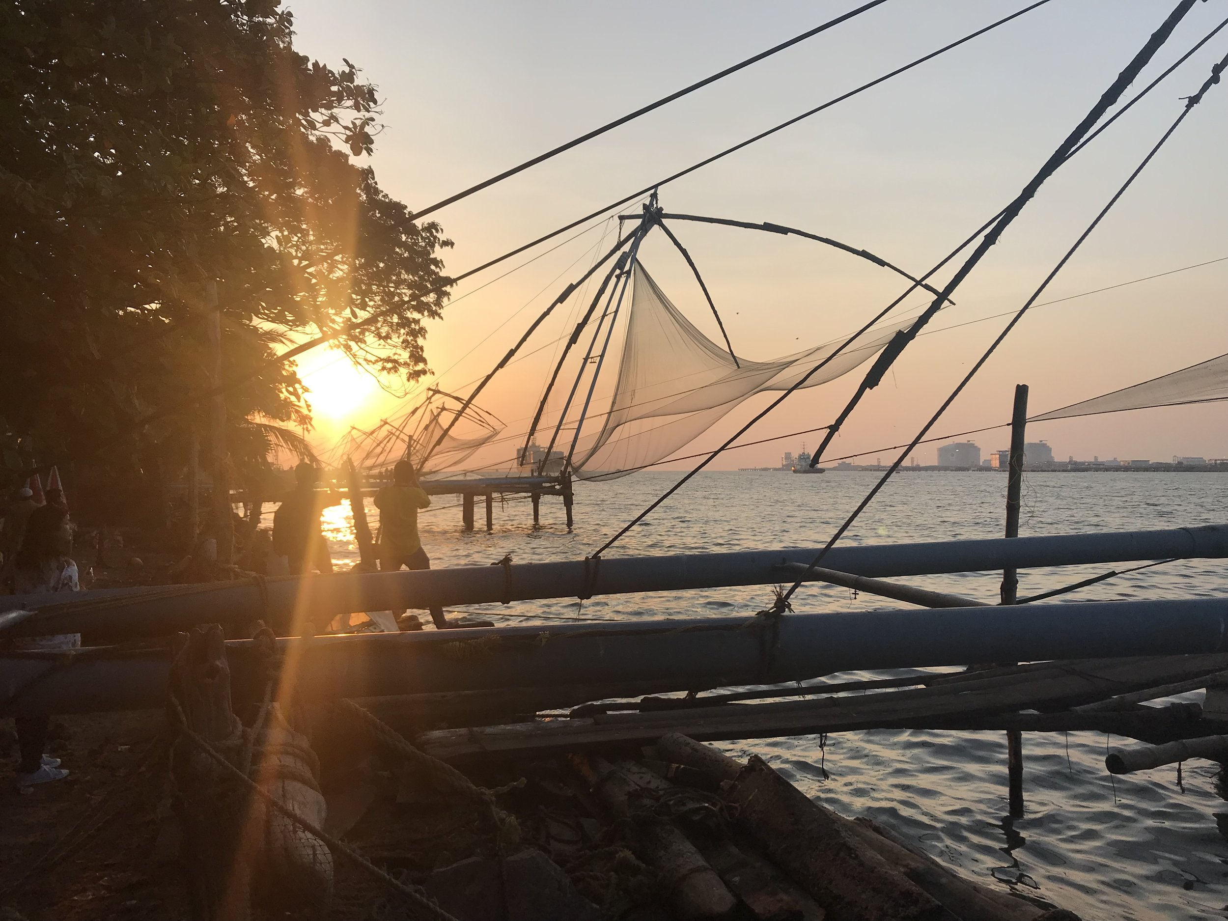 Another shot, this time of a row of fishing nets during sunset.