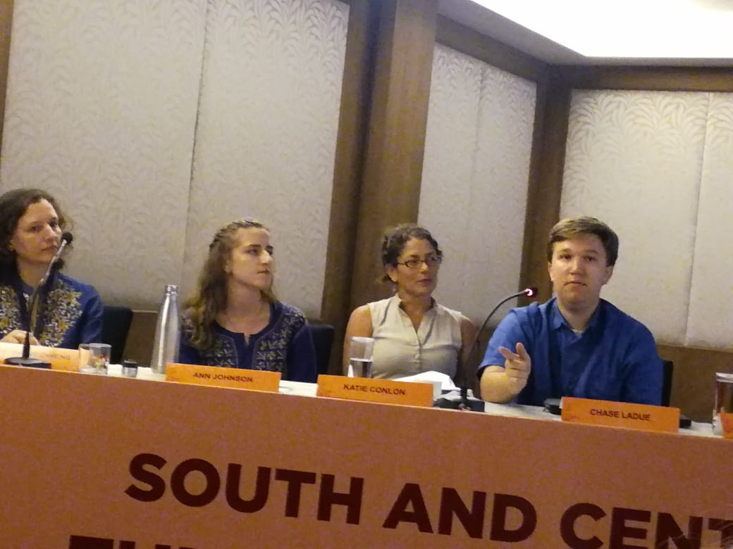 With the rest of the environmental science panelists during the question session. I look like I'm making some sort of point here; I can't remember if that's true or not. Photo: Sandarshi Gunawardena.