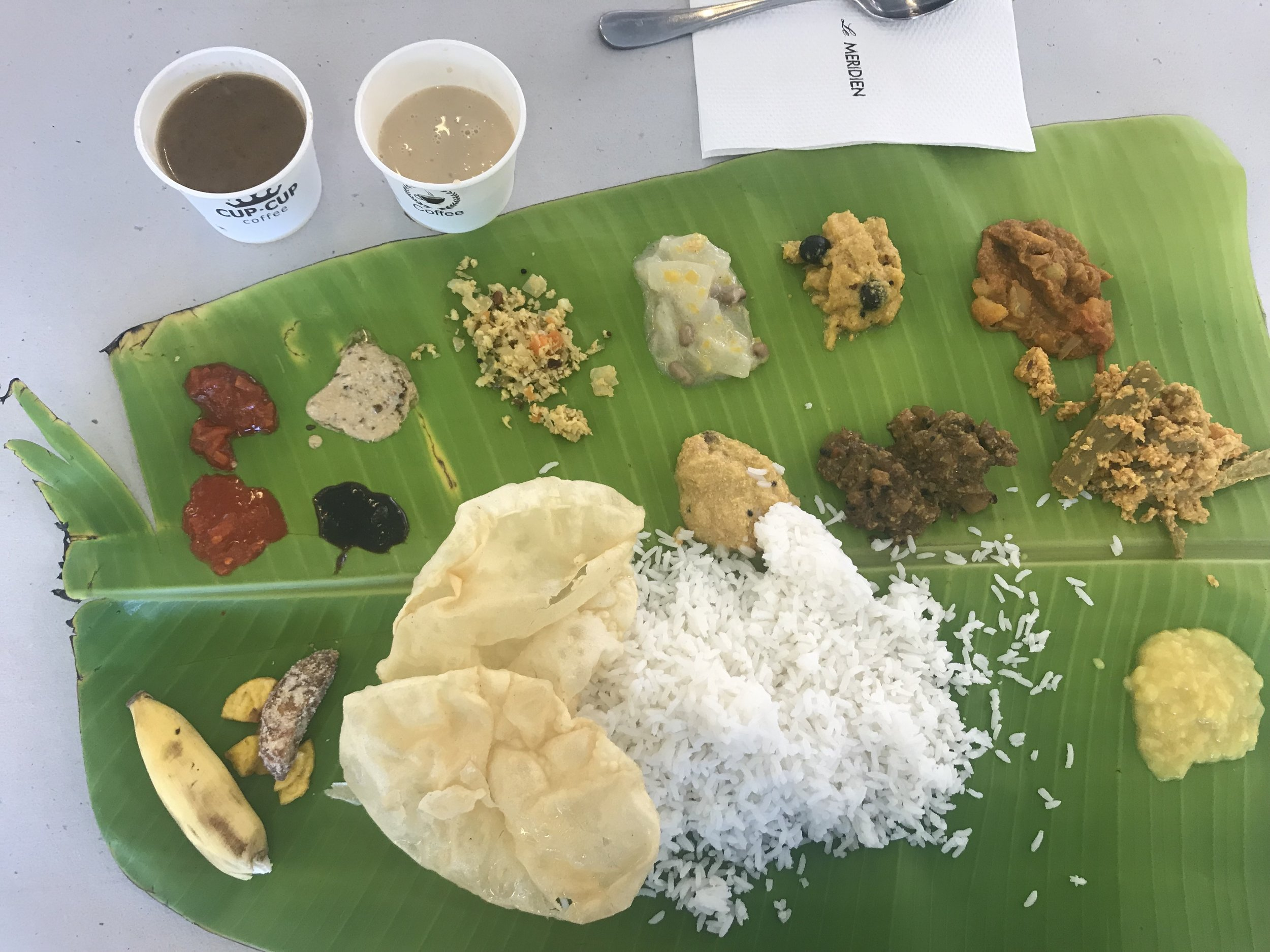 A traditional Indian meal served during one of our lunches.