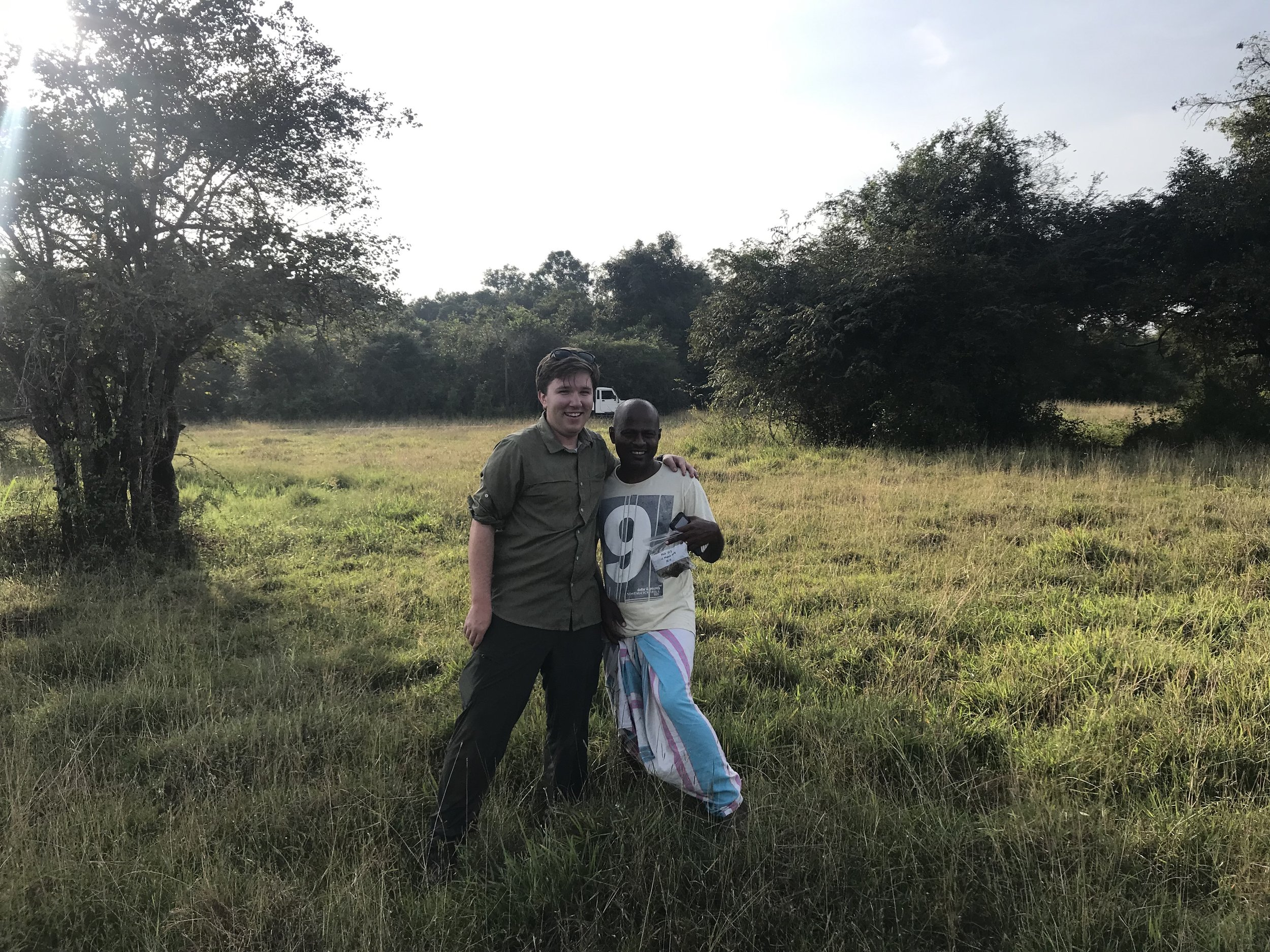 Nimal and I after our trek through the elephant-print minefield. Not pictured: my butt covered in mud from my fall.