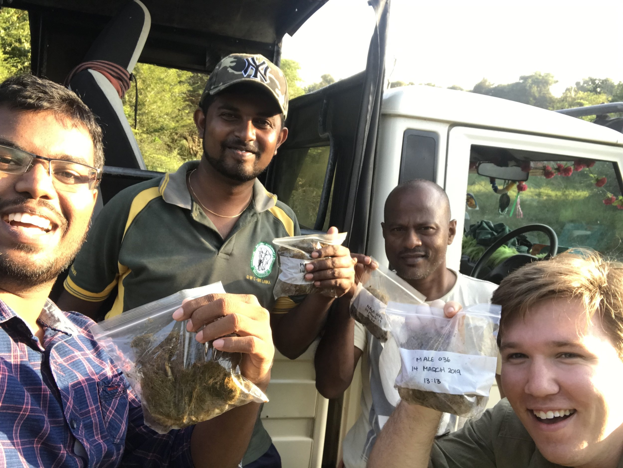Look how happy our poop team is! Last week, we collected an unprecedented   four   samples in one day. From L to R: Sachintha, Dhanushka, Nimal (who may not be excited, but is instead questioning his life decisions that led him to hold a piece of elephant dung in his hand), and me.