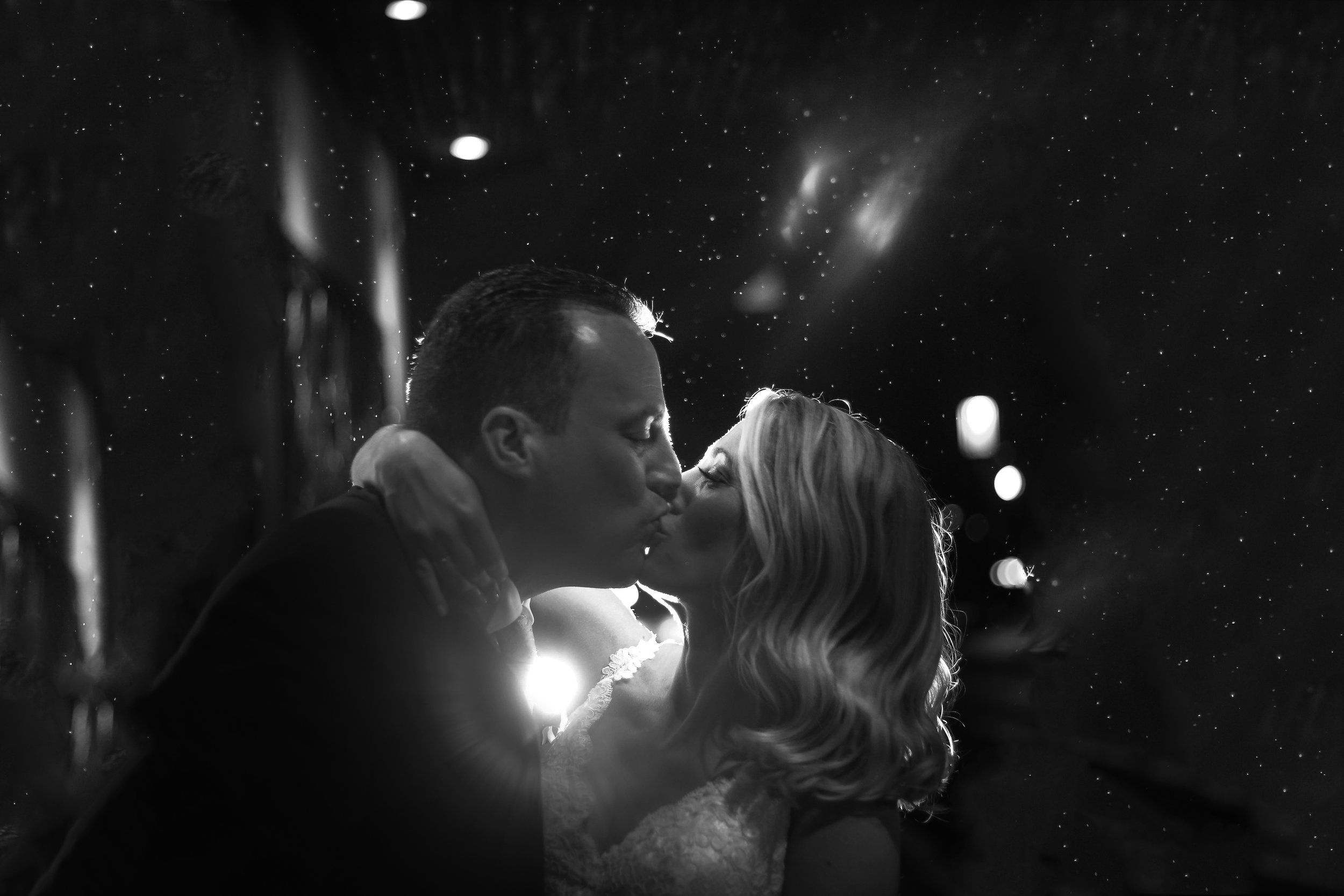 Night portraits of bride and groom