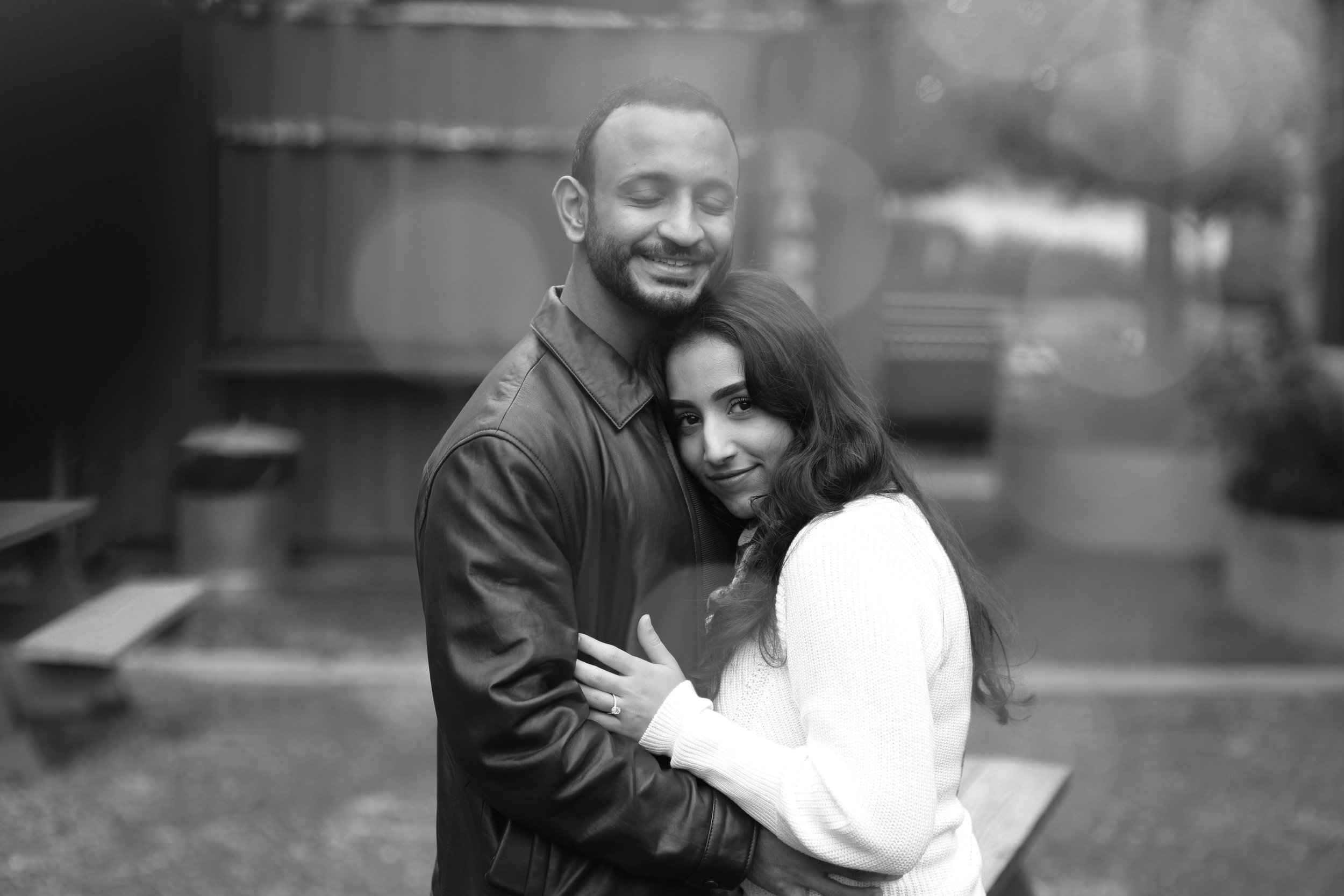 Black and white photo of engaged couple in Philadelphia