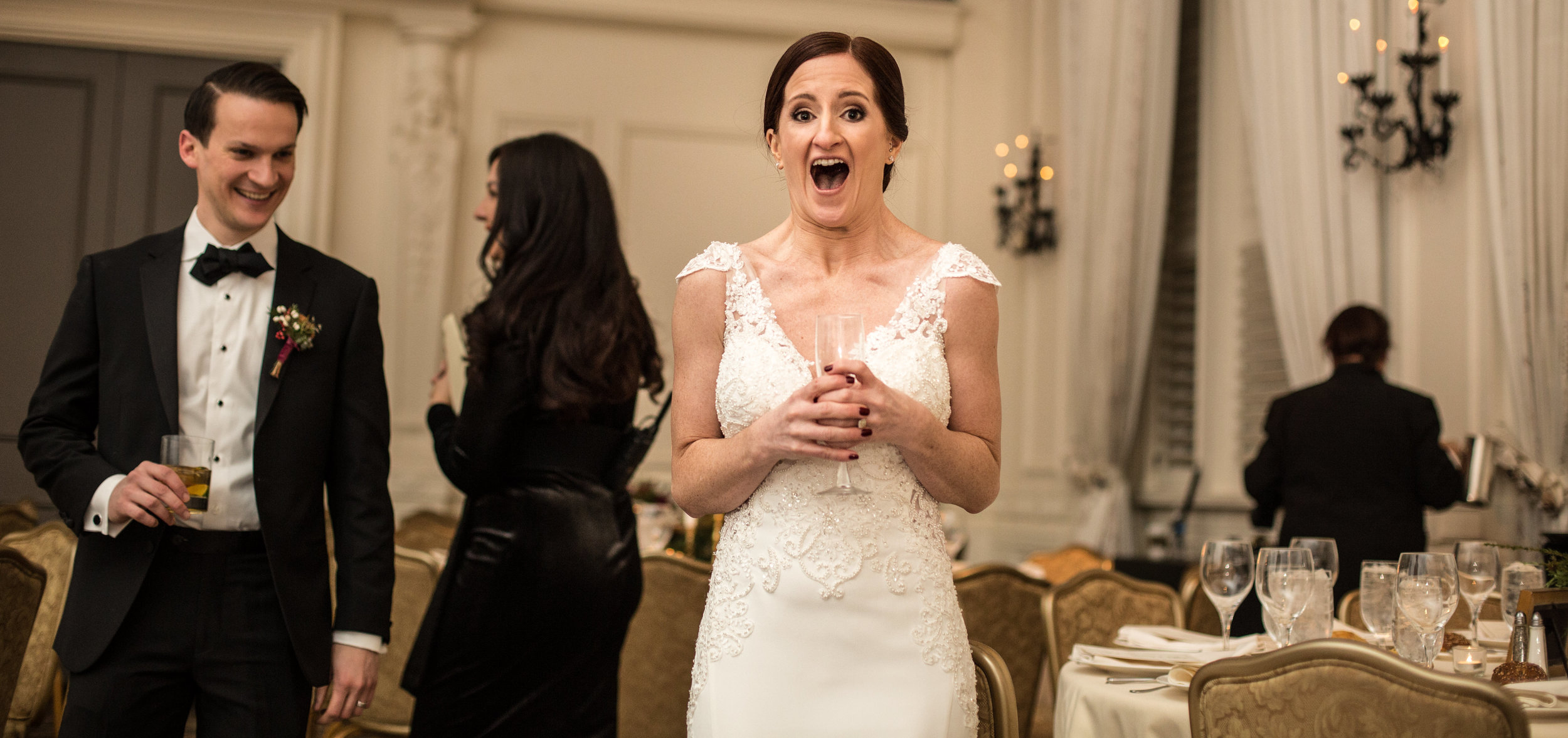 Bride sees the reception ballroom at Hyatt for the first time