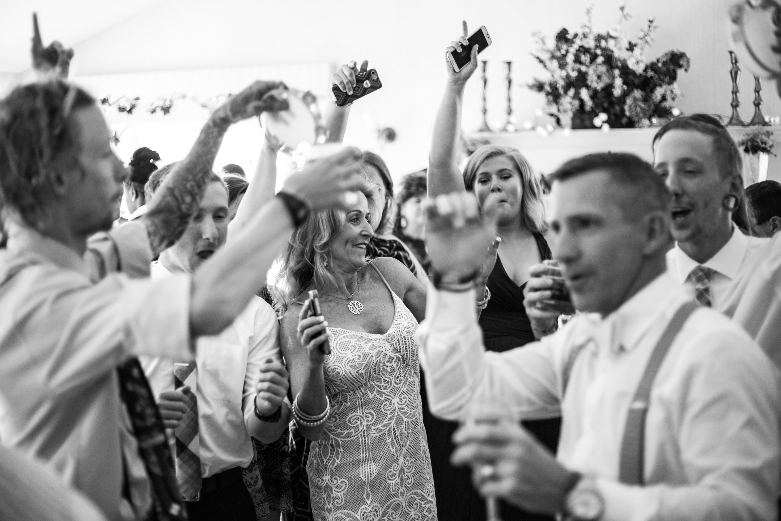 Family fun dances during wedding reception