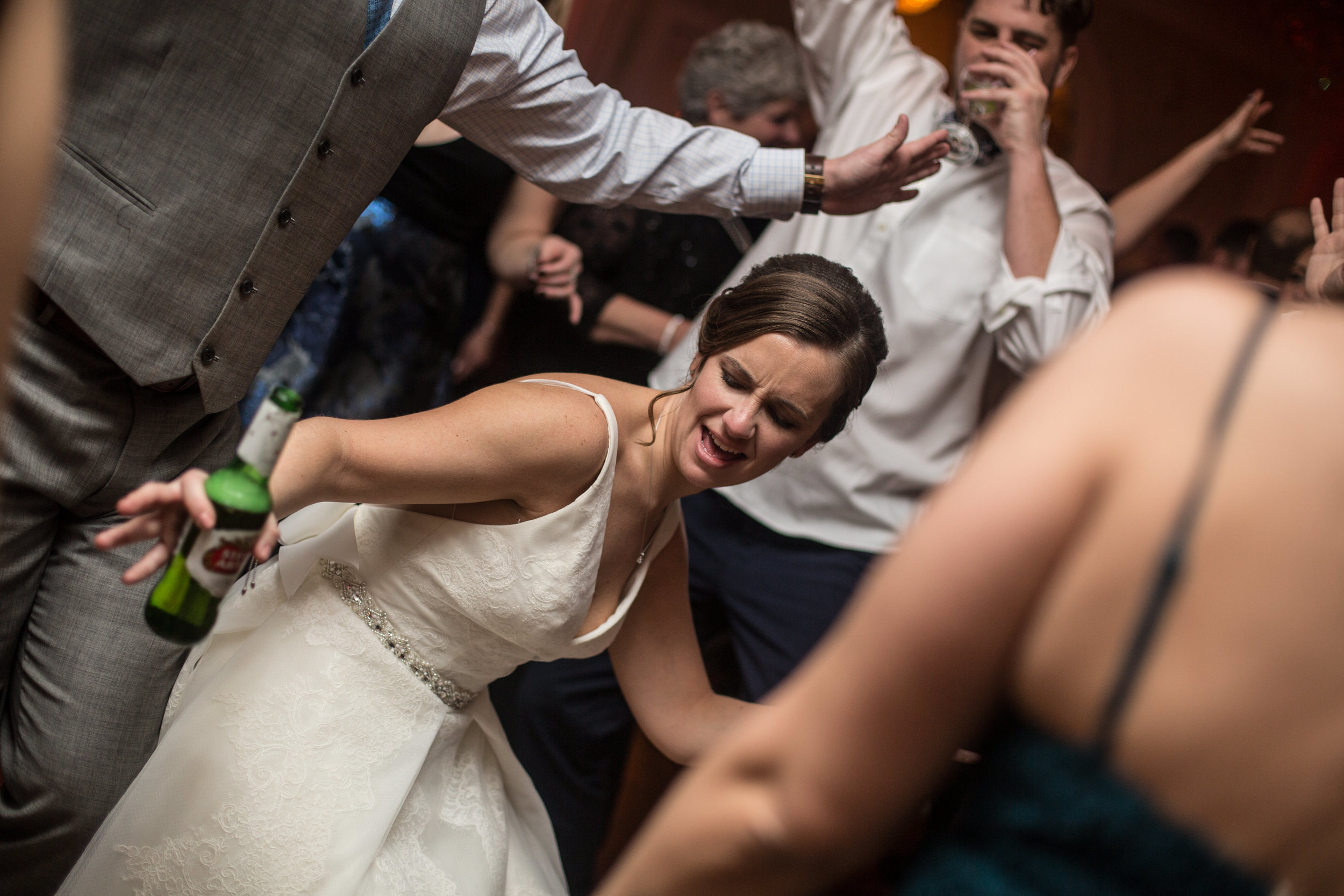 Bride dancing on the dance floor during the wedding reception