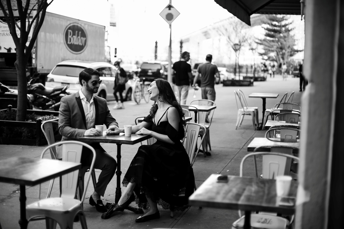 Romantic brooklyn cafe photo session