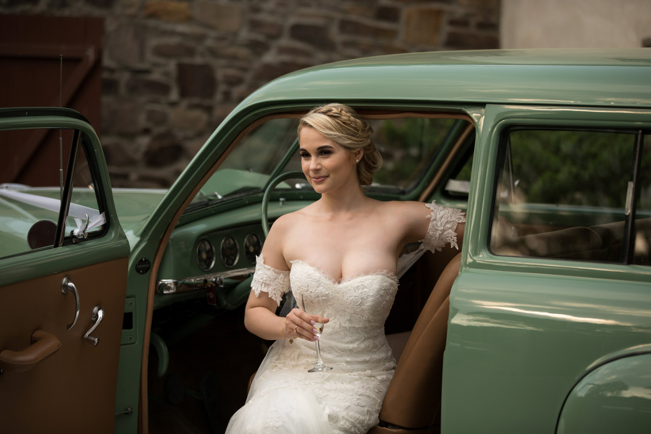 Bride in antique car